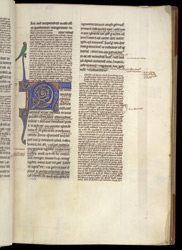 Illuminated Initial With Parrot , In Aristotle's 'Metaphysics' With The Commentary Of Averroes, And 'Ethics'